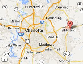 A map of Charlotte, NC featuring Midland - 28107